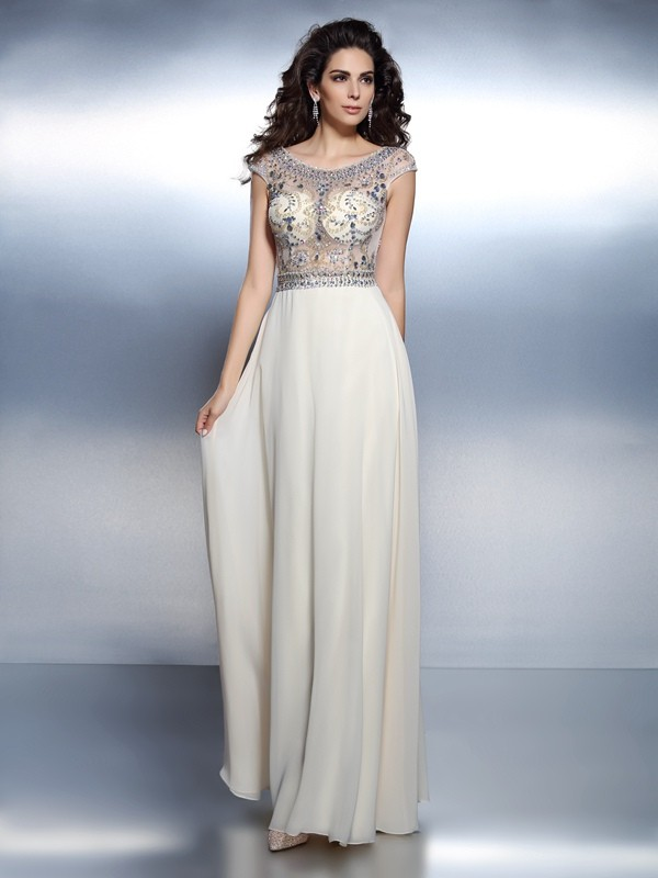 A-Line/Princess Bateau Chiffon Short Sleeves Floor-Length Dresses