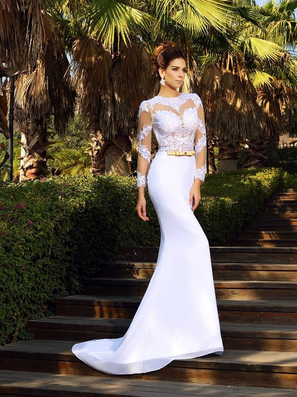 Sheath/Column Scoop Chiffon Long Sleeves Court Train Wedding Dresses