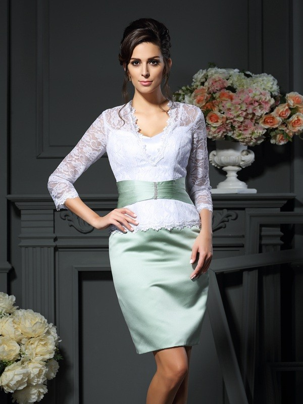 Sheath/Column V-neck Satin 1/2 Sleeves Short/Mini Mother of the Bride Dresses