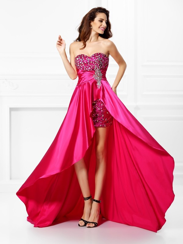 A-Line/Princess Sweetheart Elastic Woven Satin Sleeveless Asymmetrical Dresses