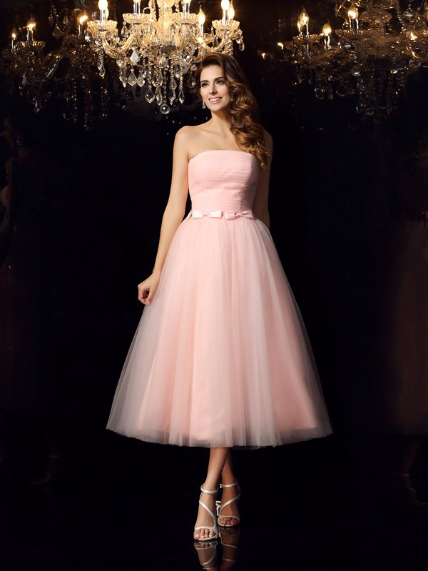 Ball Gown Strapless Satin Sleeveless Tea-Length Dresses