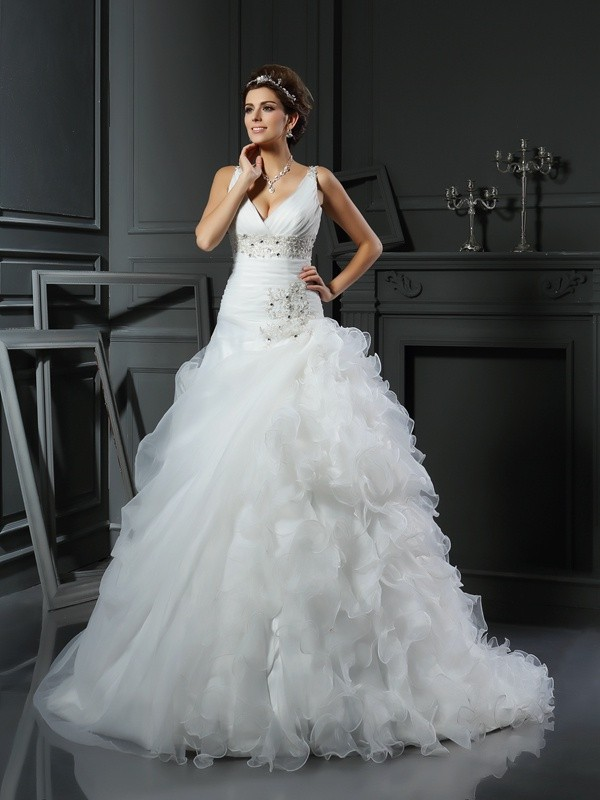 Ball Gown V-neck Organza Sleeveless Court Train Wedding Dresses