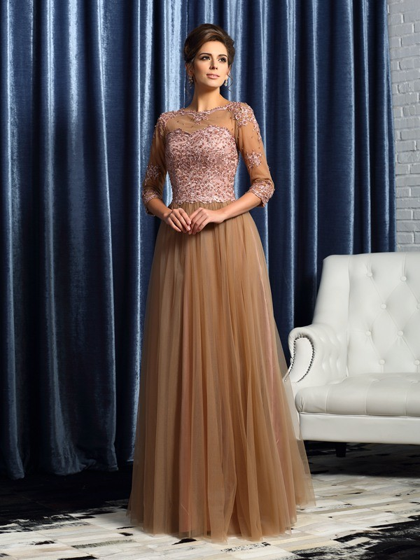 A-Line/Princess Scoop Elastic Woven Satin 3/4 Sleeves Floor-Length Mother of the Bride Dresses