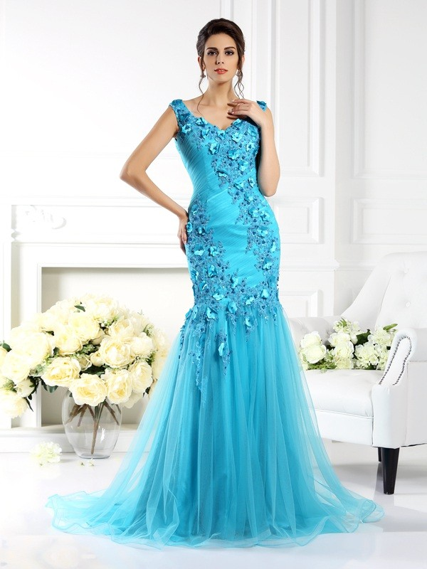 Trumpet/Mermaid Straps Silk like Satin Sleeveless Sweep/Brush Train Dresses