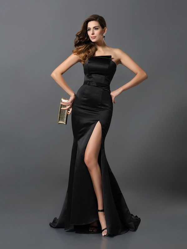 Sheath/Column Strapless Satin Sleeveless Floor-Length Evening Dresses