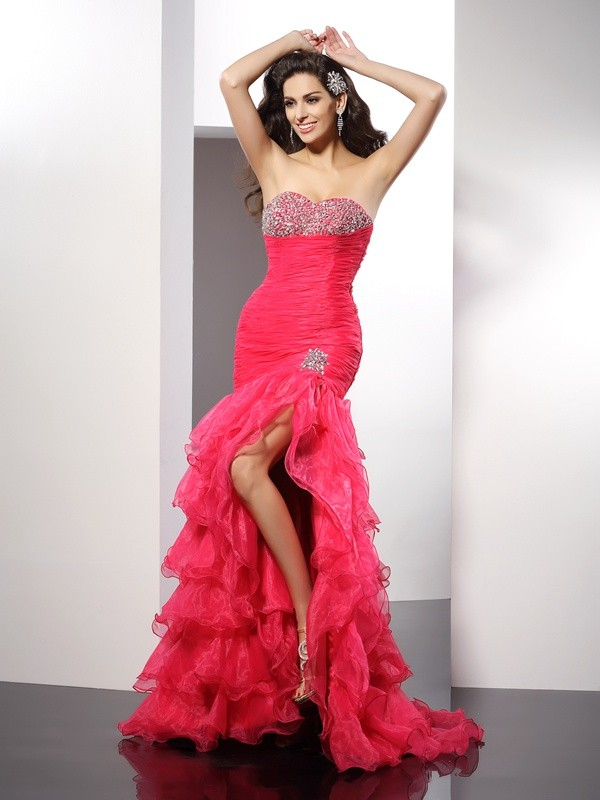 Sheath/Column Sweetheart Organza Sleeveless Floor-Length Dresses