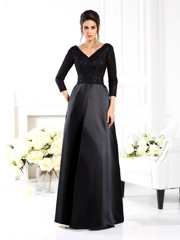 A-Line/Princess V-neck Satin 3/4 Sleeves Floor-Length Mother of the Bride Dresses