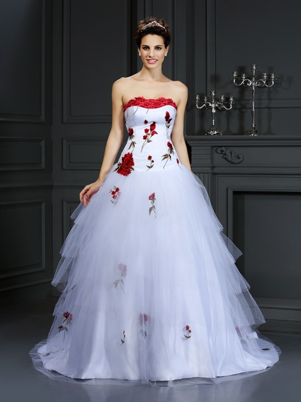 Ball Gown Strapless Satin Sleeveless Court Train Wedding Dresses