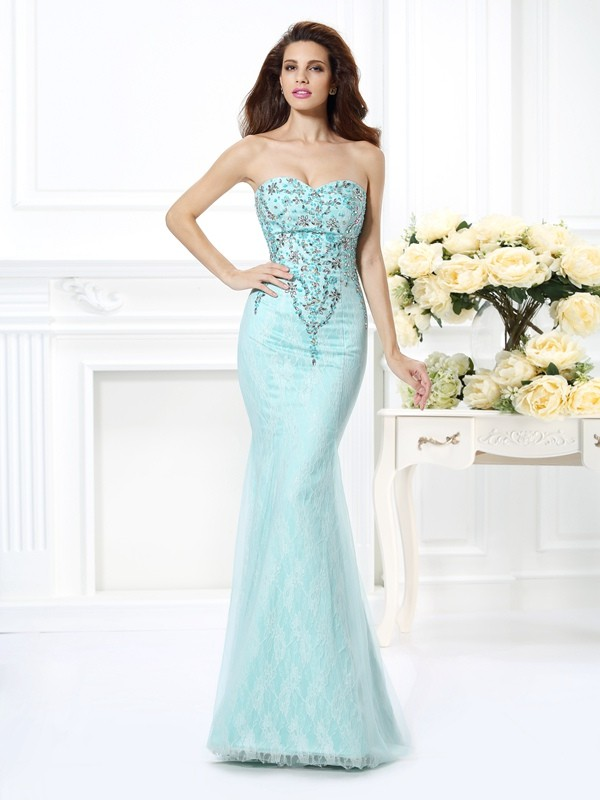 Trumpet/Mermaid Sweetheart Net Sleeveless Floor-Length Dresses