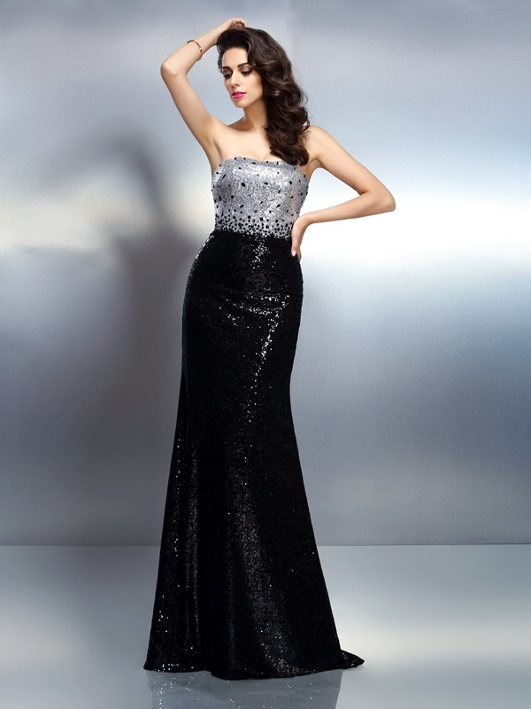 Trumpet/Mermaid Strapless Sequins Sleeveless Sweep/Brush Train Evening Dresses