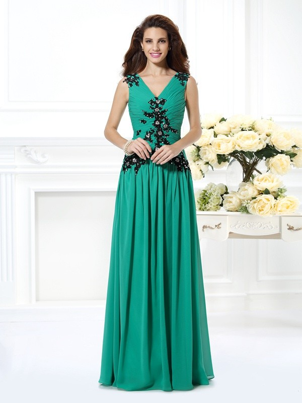 A-Line/Princess V-neck Chiffon Sleeveless Floor-Length Evening Dresses