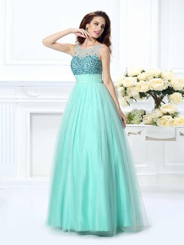 Ball Gown Bateau Chiffon Sleeveless Floor-Length Dresses