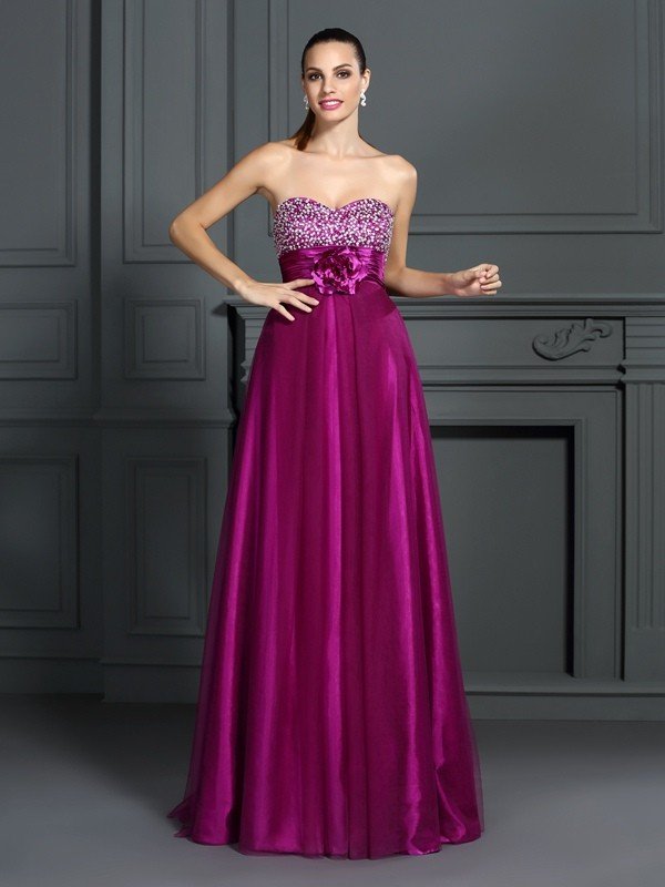 A-Line/Princess Sweetheart Elastic Woven Satin Sleeveless Floor-Length Dresses
