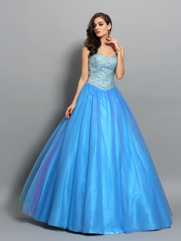 Ball Gown Sweetheart Elastic Woven Satin Sleeveless Floor-Length Dresses