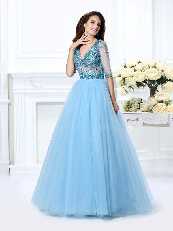 Ball Gown V-neck Satin 1/2 Sleeves Floor-Length Dresses