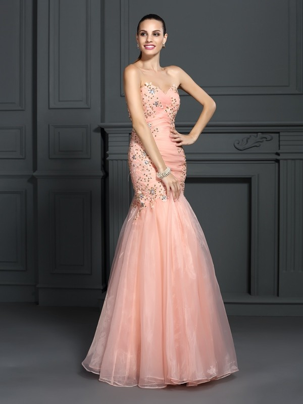 Trumpet/Mermaid Sweetheart Organza Sleeveless Floor-Length Dresses