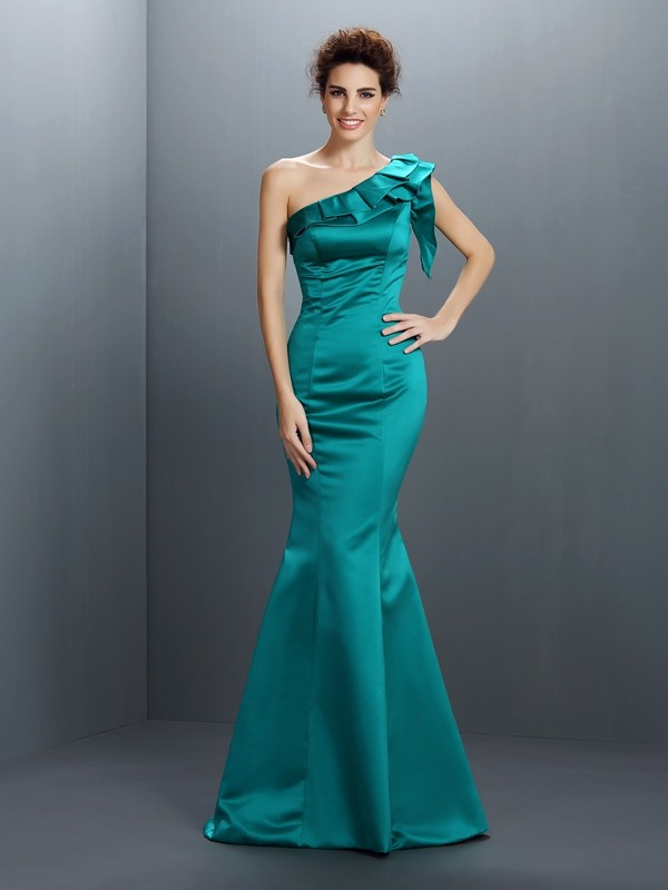 Trumpet/Mermaid One-Shoulder Satin Sleeveless Floor-Length Evening Dresses