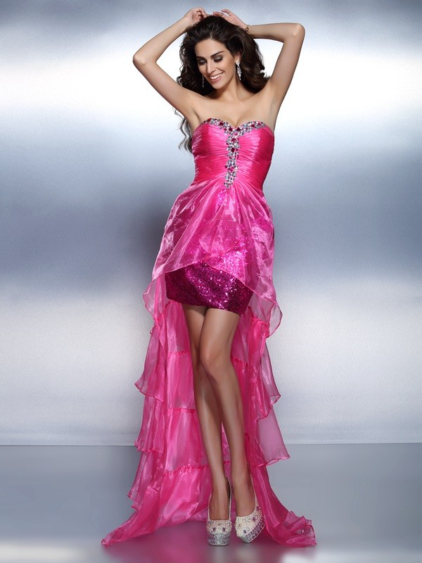 Sheath/Column Sweetheart Organza Sleeveless Asymmetrical Dresses