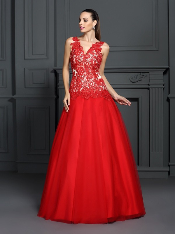 Ball Gown V-neck Lace Sleeveless Floor-Length Dresses