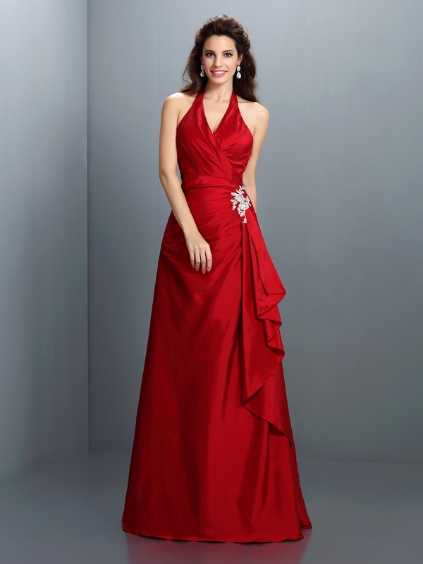 A-Line/Princess Halter Taffeta Sleeveless Floor-Length Dresses