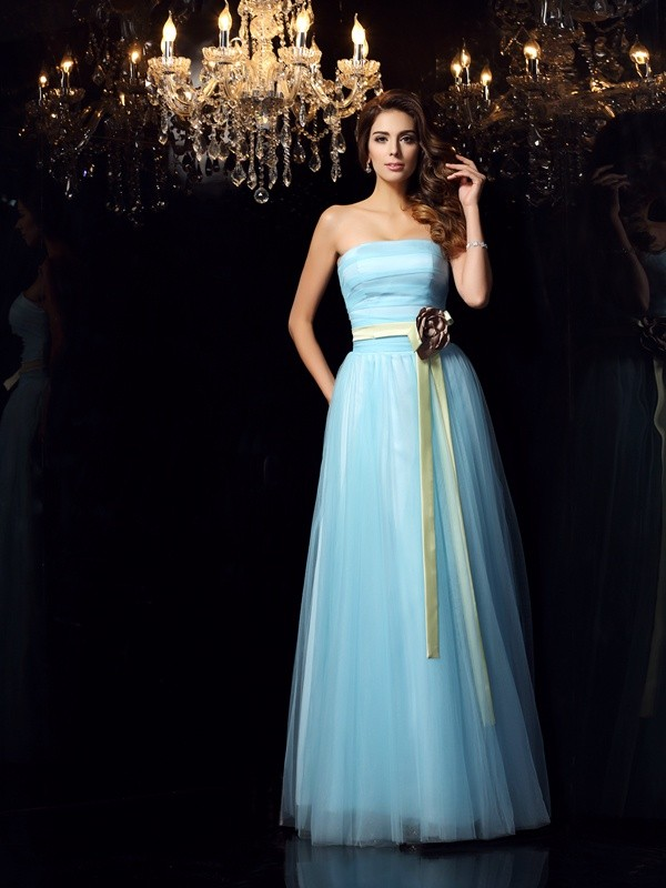 Ball Gown Strapless Satin Sleeveless Floor-Length Dresses