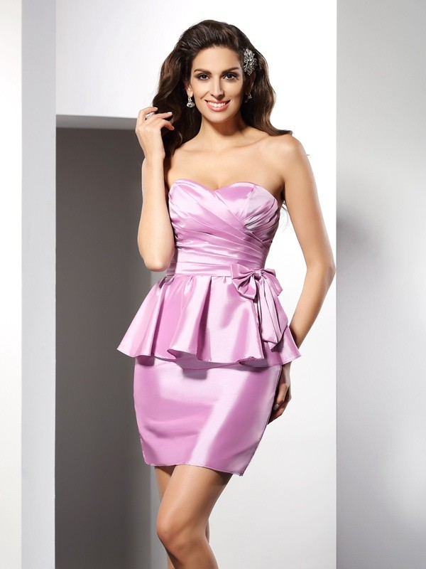 Sheath/Column Sweetheart Taffeta Sleeveless Short/Mini Dresses