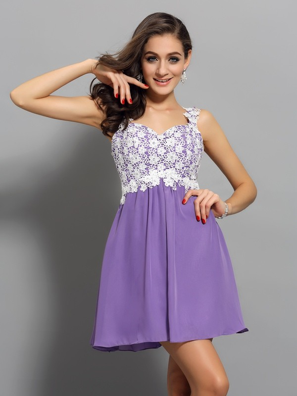 A-Line/Princess Straps Chiffon Sleeveless Short/Mini Dresses