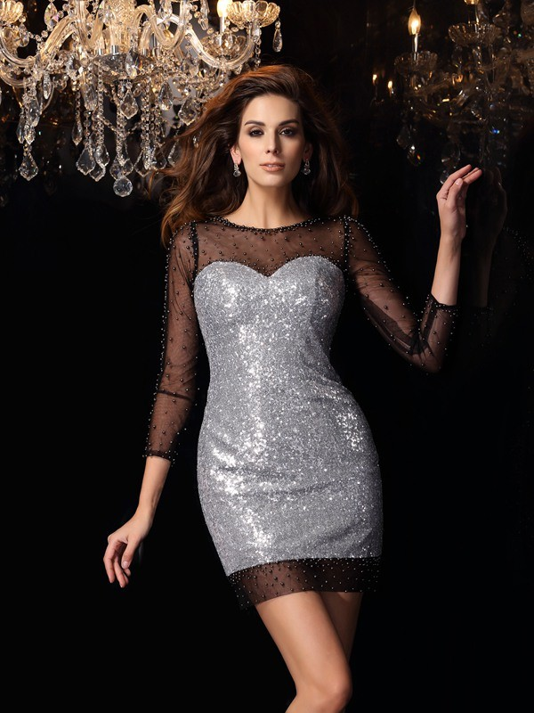Sheath/Column Scoop Sequins 3/4 Sleeves Short/Mini Dresses