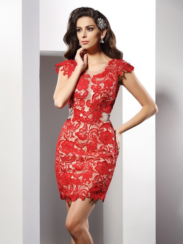 Sheath/Column Scoop Elastic Woven Satin Sleeveless Short/Mini Dresses