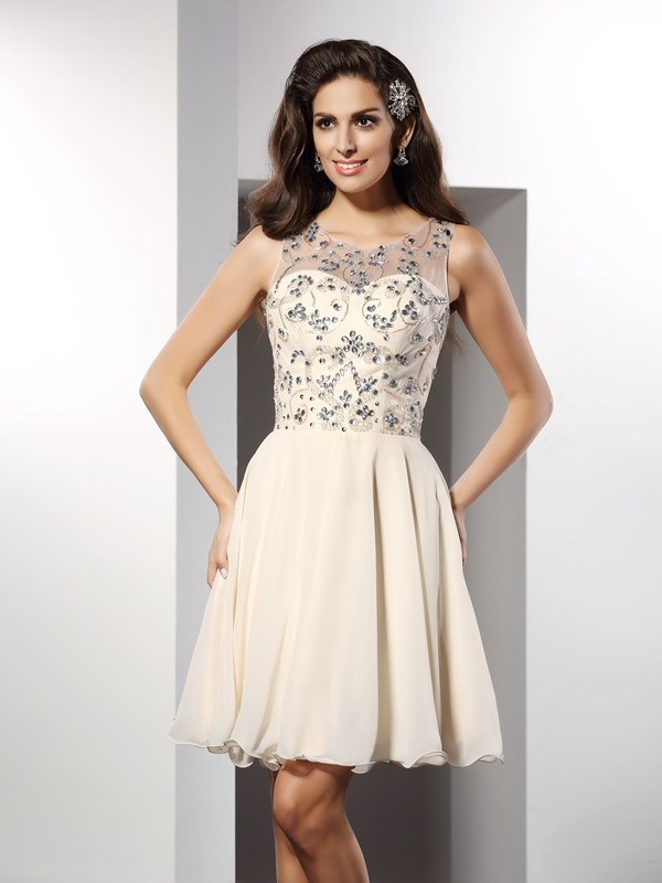 A-Line/Princess Bateau Chiffon Sleeveless Short/Mini Dresses