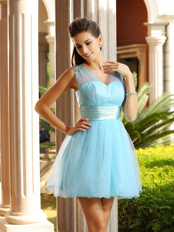 A-Line/Princess V-neck Net Sleeveless Short/Mini Dresses