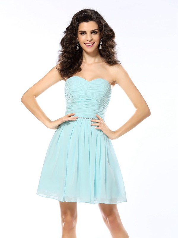A-Line/Princess Sweetheart Chiffon Sleeveless Short/Mini Dresses