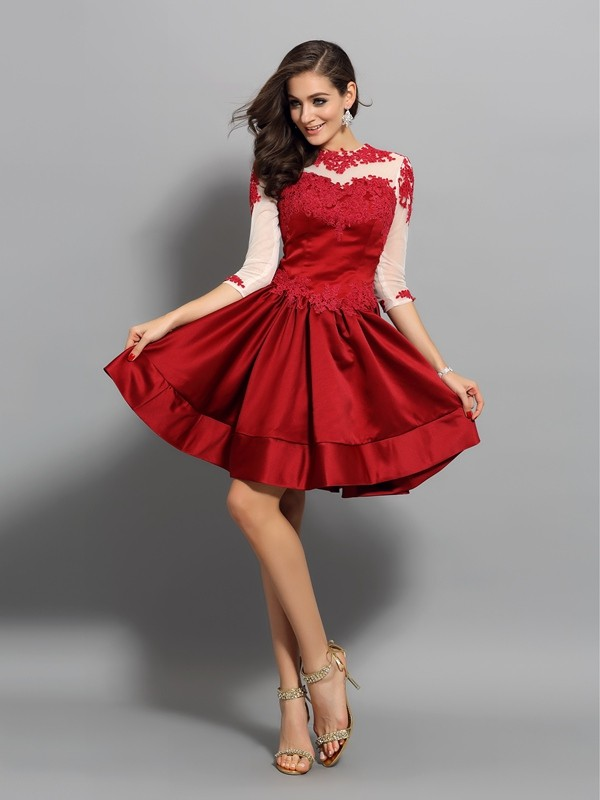 A-Line/Princess High Neck Satin 1/2 Sleeves Short/Mini Dresses