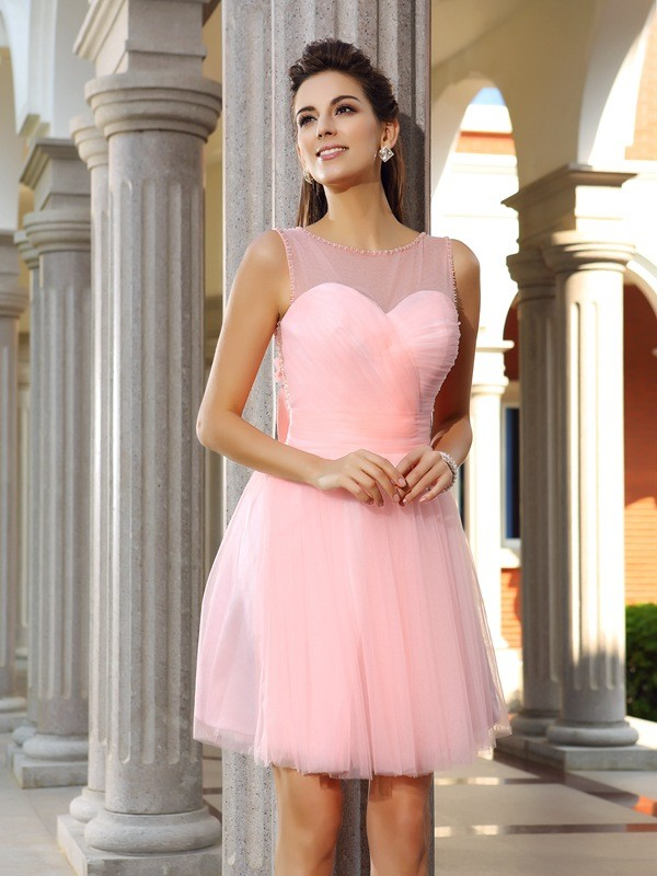 A-Line/Princess Scoop Satin Sleeveless Short/Mini Dresses