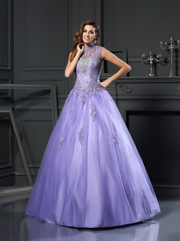 Ball Gown High Neck Net Sleeveless Floor-Length Dresses