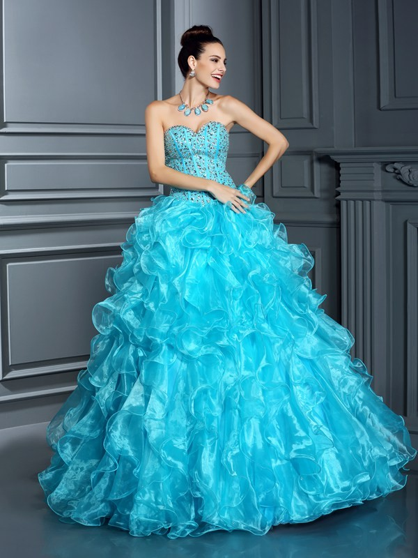 Ball Gown Sweetheart Organza Sleeveless Floor-Length Dresses