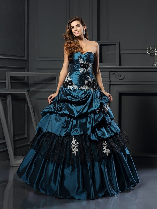 Ball Gown Sweetheart Taffeta Sleeveless Floor-Length Dresses