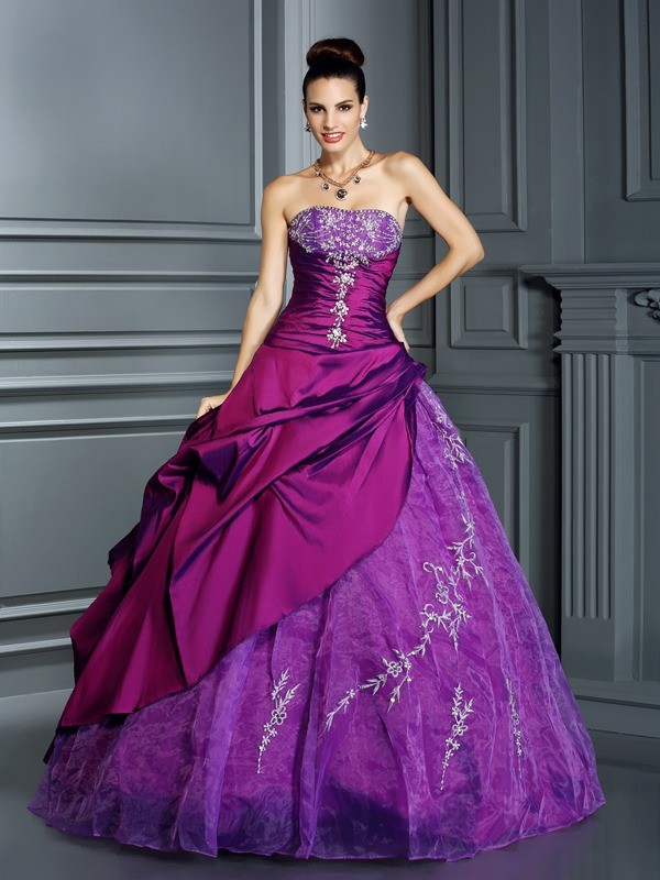 Ball Gown Strapless Taffeta Sleeveless Floor-Length Dresses