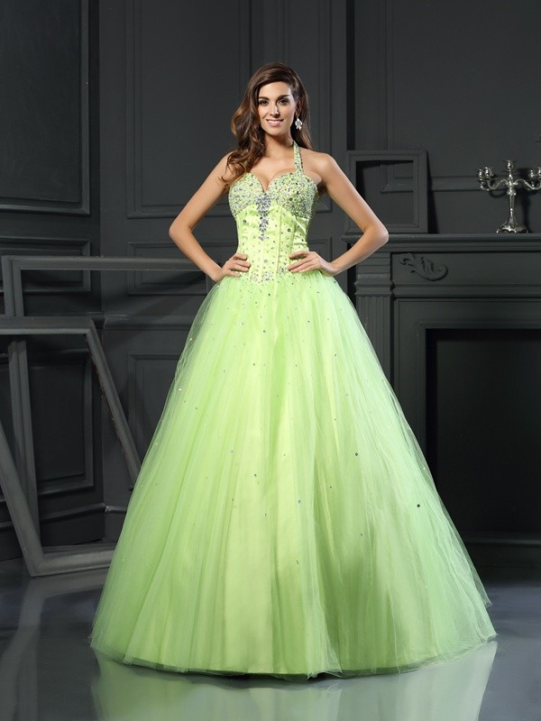 Ball Gown Halter Satin Sleeveless Floor-Length Dresses