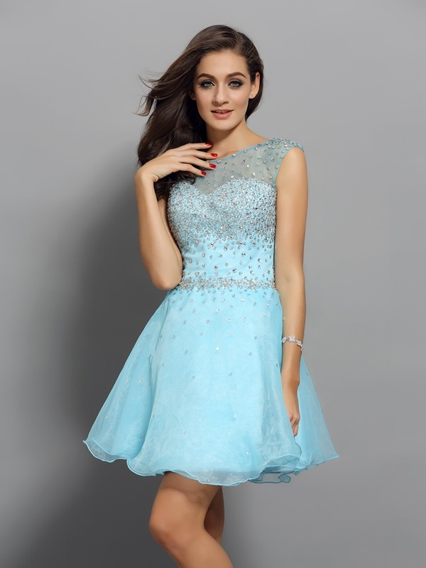 A-Line/Princess Scoop Organza Sleeveless Short/Mini Dresses