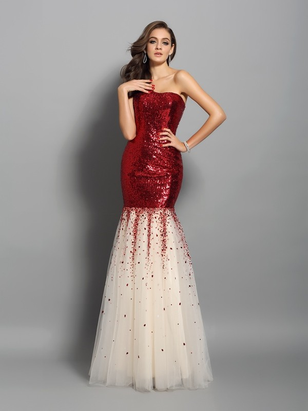 Trumpet/Mermaid One-Shoulder Sequins Sleeveless Floor-Length Dresses