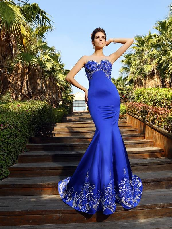 Trumpet/Mermaid Sweetheart Satin Sleeveless Court Train Dresses