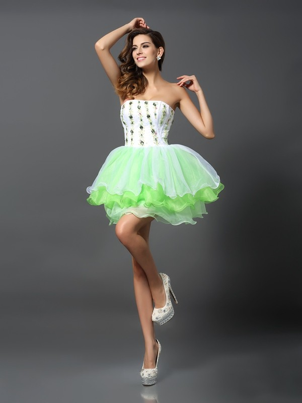 A-Line/Princess Strapless Organza Sleeveless Short/Mini Dresses