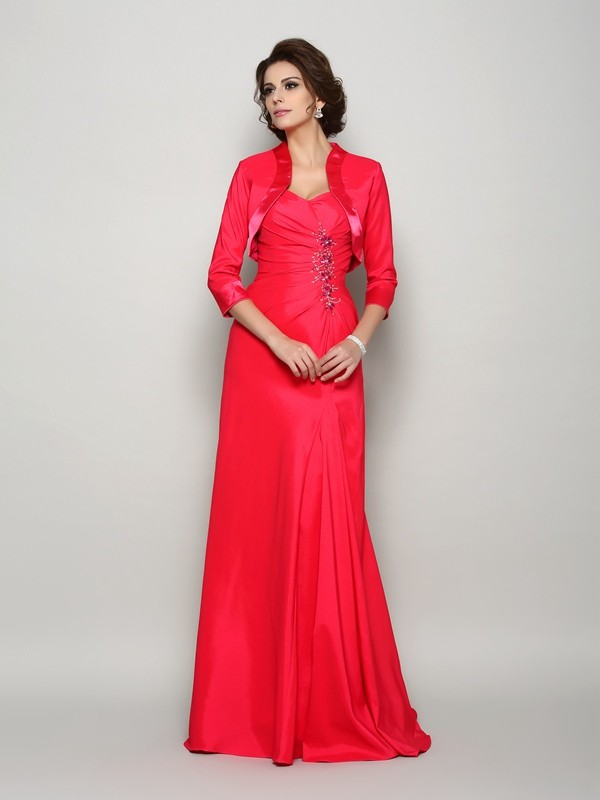 A-Line/Princess Straps Elastic Woven Satin Sleeveless Sweep/Brush Train Mother of the Bride Dresses