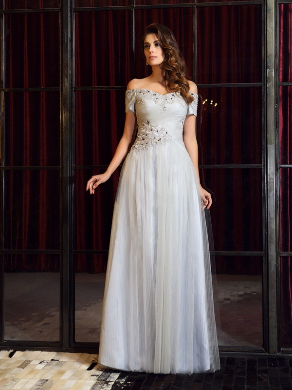 A-Line/Princess Off-the-Shoulder Net Sleeveless Floor-Length Dresses
