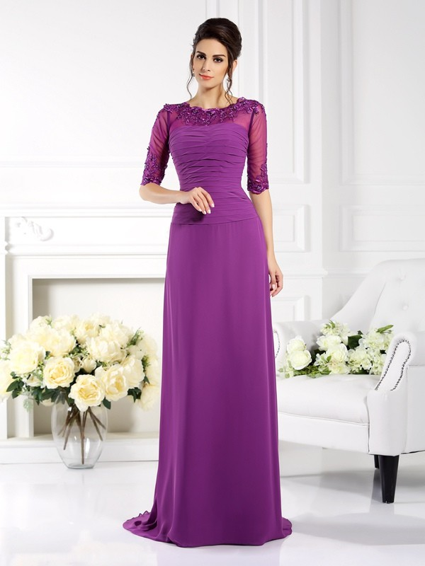 Sheath/Column Scoop Chiffon 1/2 Sleeves Sweep/Brush Train Dresses