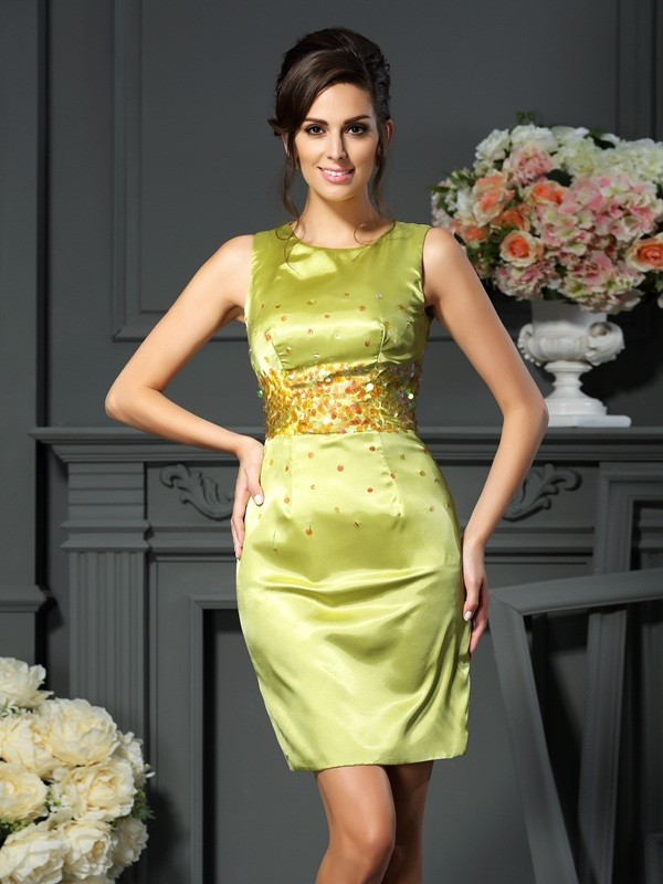 Sheath/Column Scoop Silk like Satin Sleeveless Short/Mini Mother of the Bride Dresses