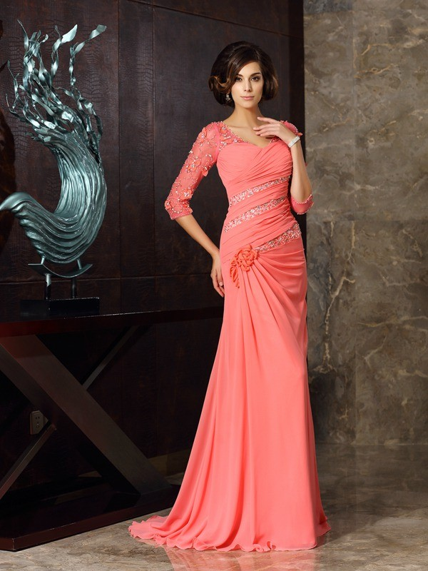 Trumpet/Mermaid Sweetheart Chiffon 1/2 Sleeves Sweep/Brush Train Mother of the Bride Dresses