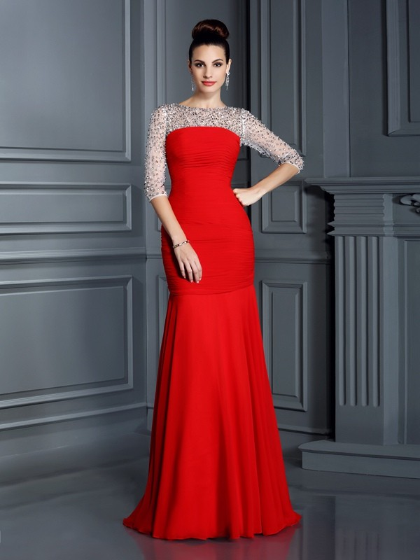 Trumpet/Mermaid Scoop Chiffon 3/4 Sleeves Floor-Length Dresses