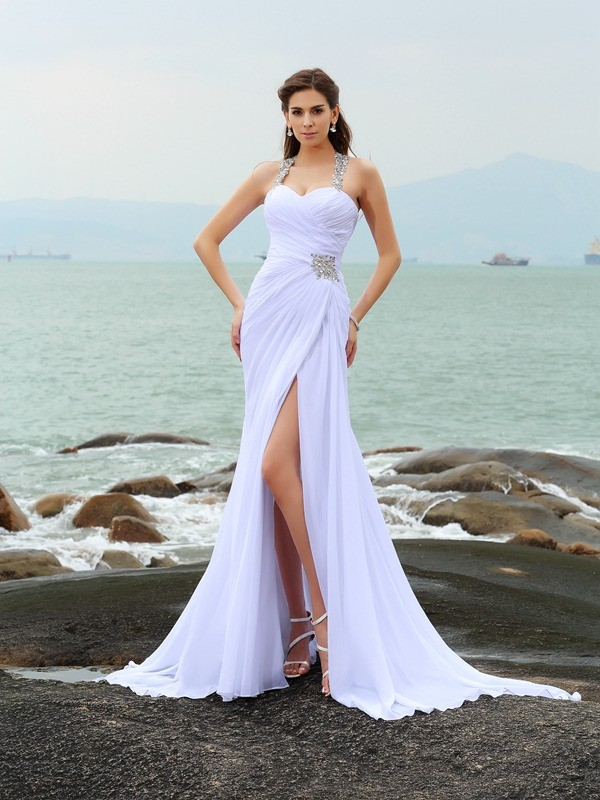 Sheath/Column Straps Chiffon Sleeveless Chapel Train Wedding Dresses